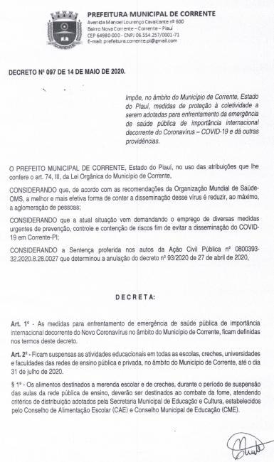 Prefeitura de Corrente emite novo decreto para enfrentamento do Coronavírus