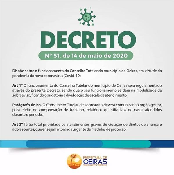 Decreto regulamenta funcionamento do Conselho Tutelar em Oeiras