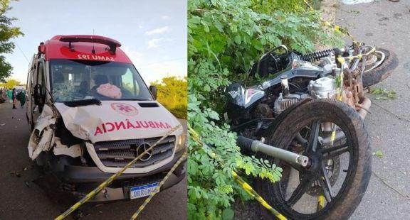 Mulher morre em colisão entre ambulância e moto na PI 211