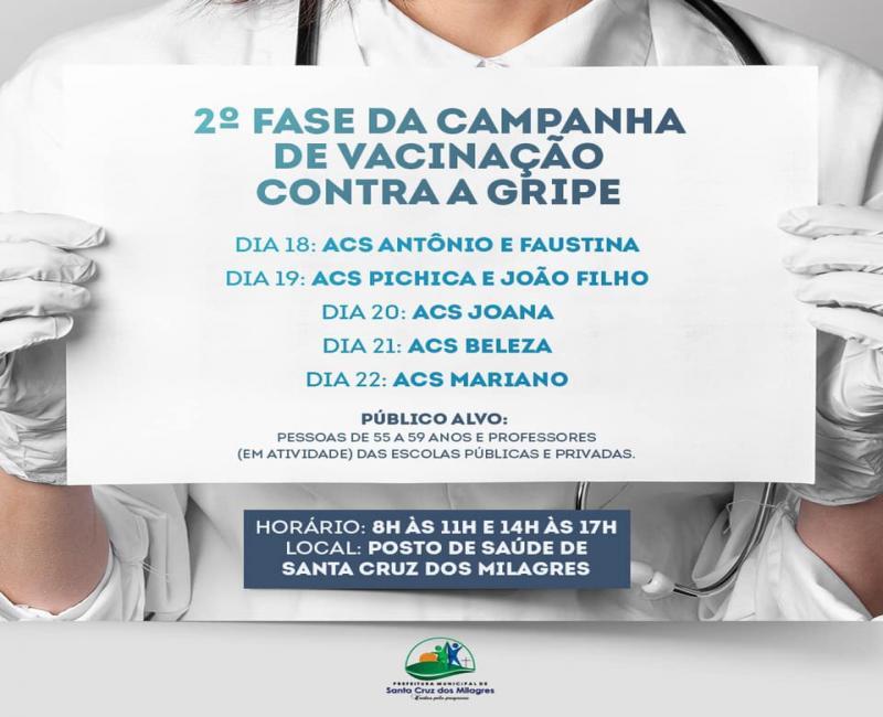 2ª fase da Campanha de Vacinação contra gripe em Santa Cruz dos Milagres