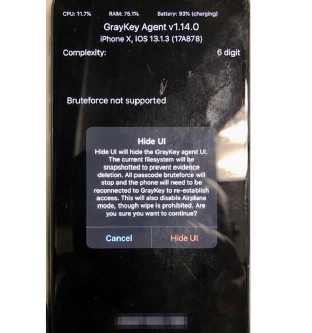 Print de um iPhone com Hide Ui de um agente anônimo da polícia — Foto: Reprodução/Phone Arena
