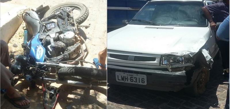 Colisão entre carro e moto deixa uma pessoa ferida no Piauí