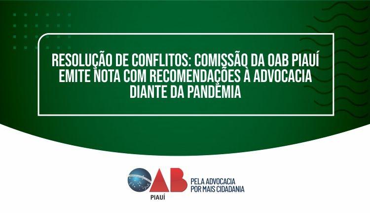 OAB Piauí emite nota com recomendações à advocacia diante da pandemia