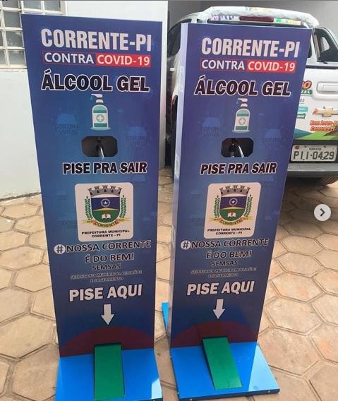 Prefeitura de Corrente adquire lançadores automáticos de álcool em gel