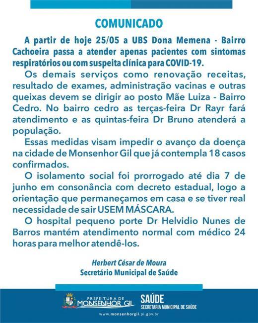 Saúde de Monsenhor Gil informa sobre atendimentos e funcionamento das UBS