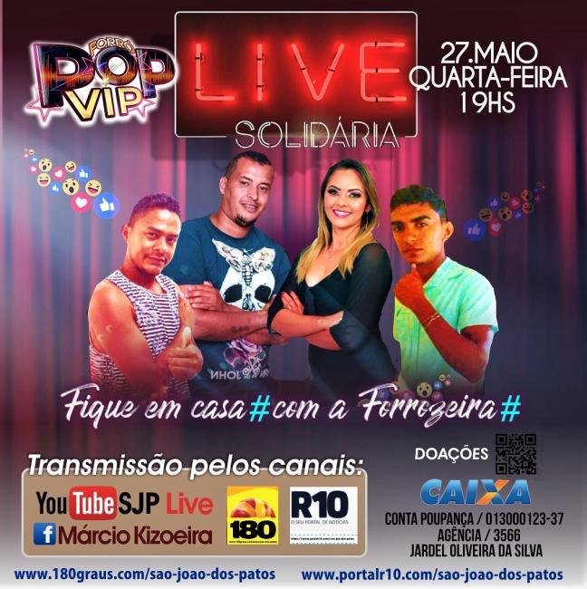 Portal R10 vai transmitir ao vivo a live do forró pop vip