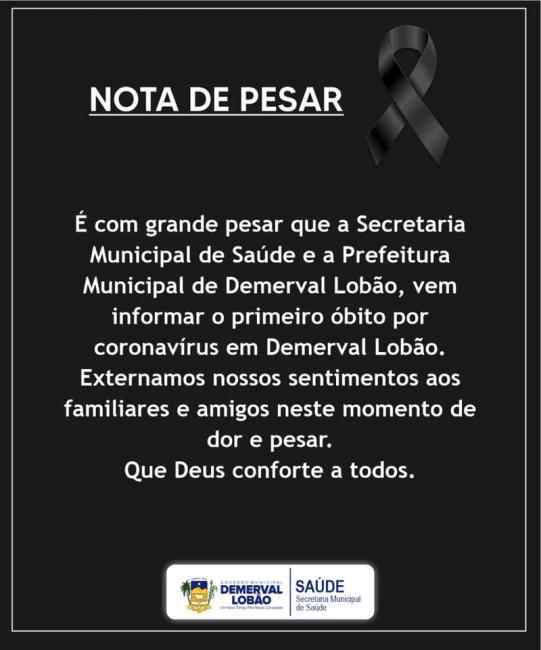 Prefeitura de Demerval Lobão emite nota de pesar pela 1ª morte por Covid-19