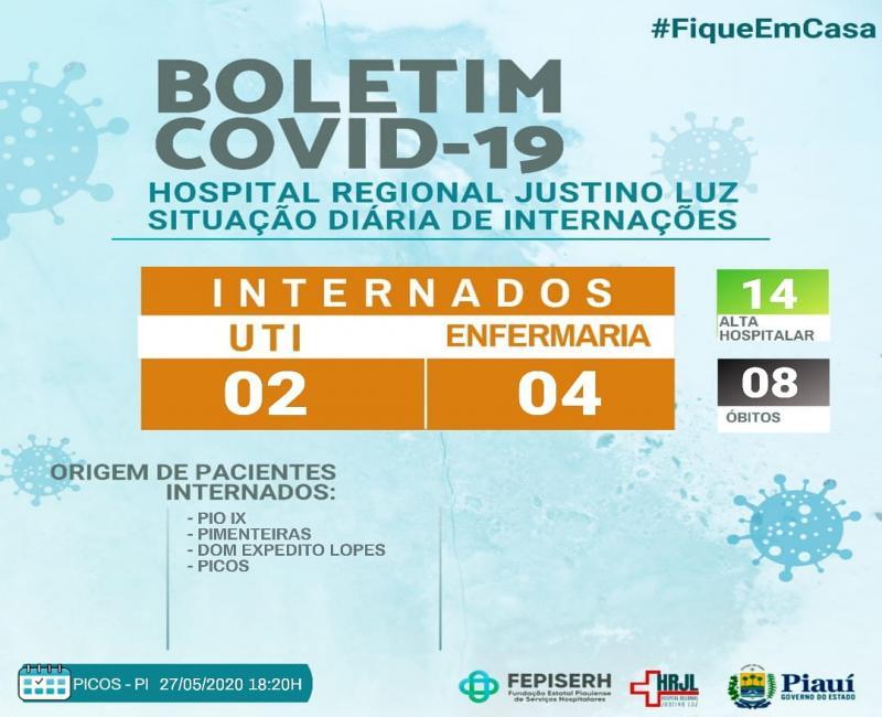 HRJL de Picos divulga novo boletim do covid-19 na noite desta quarta, 27