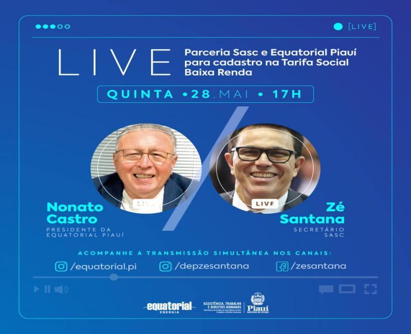 Zé Santana participa de Live sobre 'Tarifa Social' nesta quinta-feira (28)