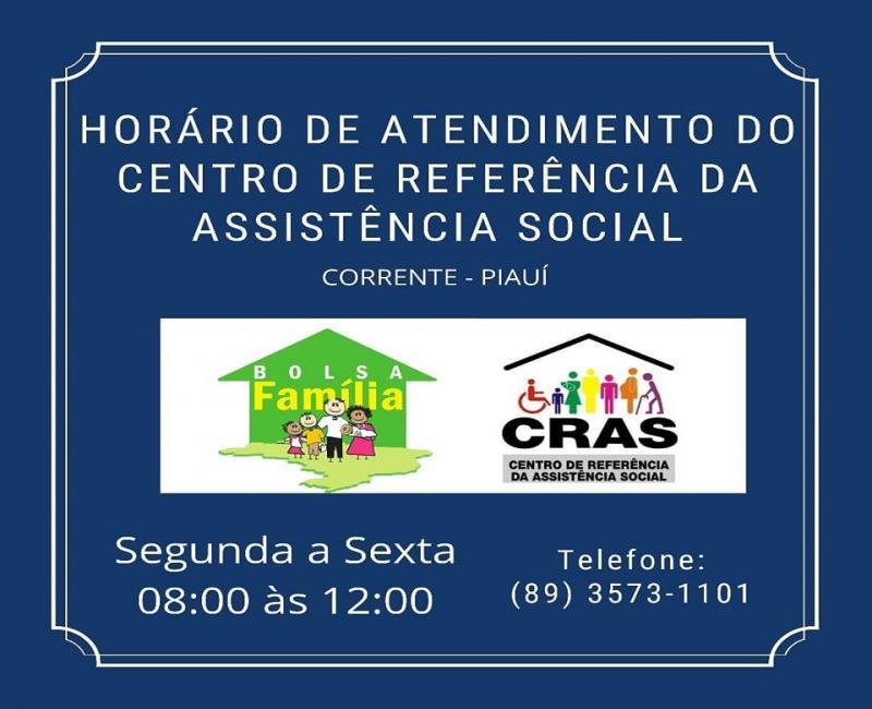 Assistência Social informa horário de atendimento do CRAS em Corrente