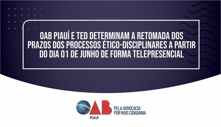 OAB PI e TED determinam a retomada dos prazos dos processos éticos