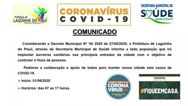 Prefeitura de Lagoinha vai adotar barreiras sanitárias na entrada da cidade