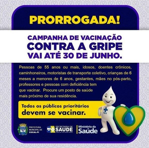 Cocal | Saúde prorroga campanha de vacinação contra gripe