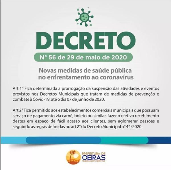 Prefeitura de Oeiras publica decreto com novas medidas contra a covid-19