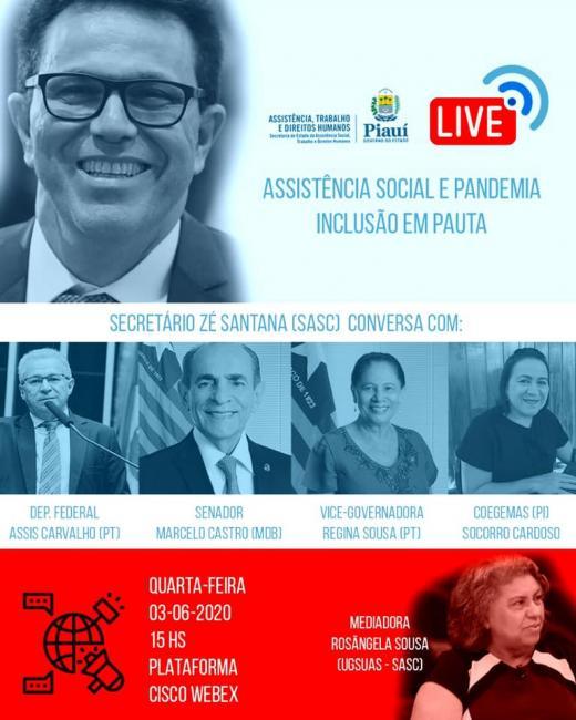 Zé Santana participará de Live sobre Assistência Social e Pandemia