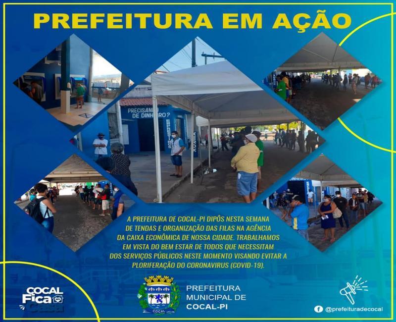 Prefeitura instala tendas em frente às agências bancárias em Cocal