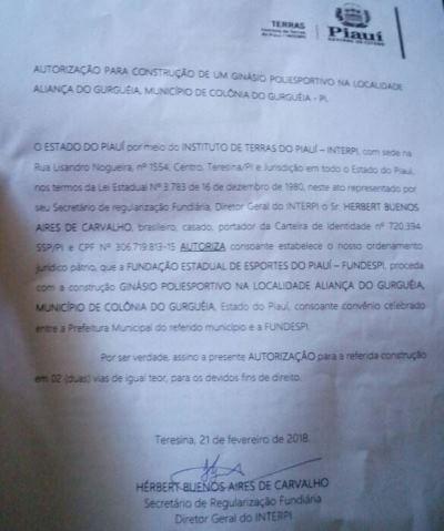 Prefeita Doquinha já conseguiu a autorização e FUNDESPI vai executar obra do Ginásio Poliesportivo