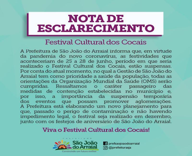 16ª edição do Festival Cultural dos Cocais de São J do Arraial é suspensa
