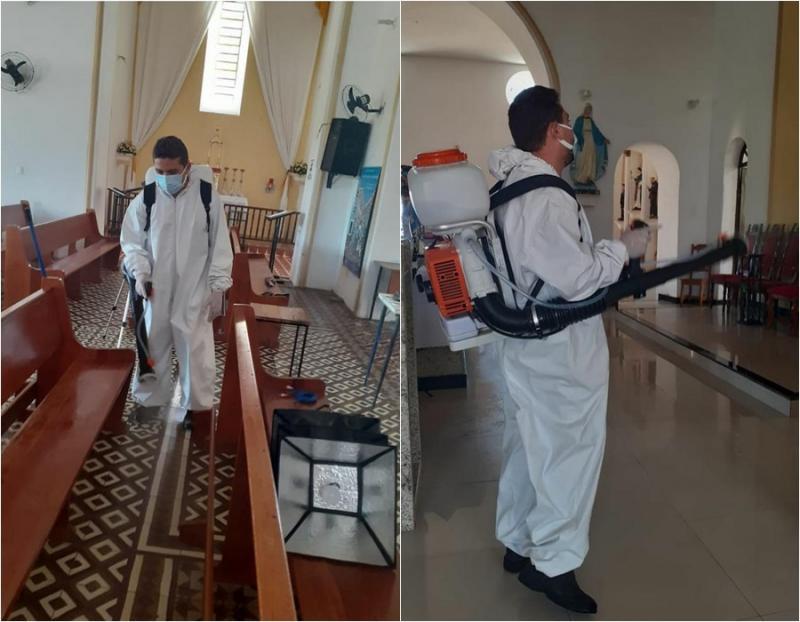 Prefeitura realiza a sanitização da Igreja Matriz em Amarante