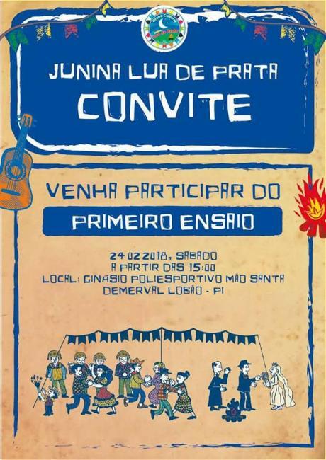 Junina Lua de Prata de Demerval Lobão convida a todos a prestigiar primeiro ensaio