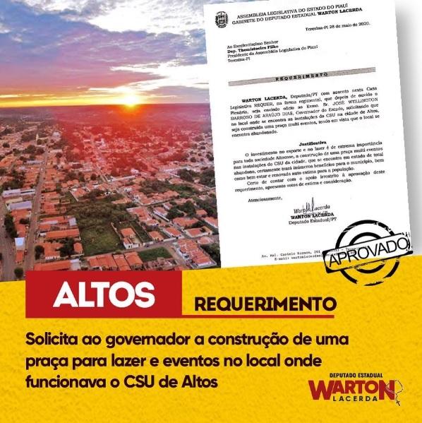 Warton Lacerda solicita ao governador a revitalização do CSU de Altos