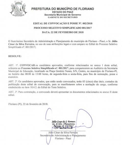 Prefeitura de Floriano publica segunda convocação dos aprovados no Teste Seletivo