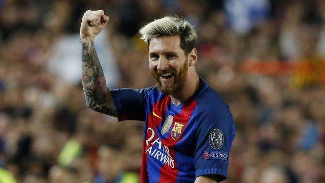 Messi fez três gols na goleada sobre o Manchester City na Champions League 2016/2017 - Foto: Pau Barrena/Reuters
