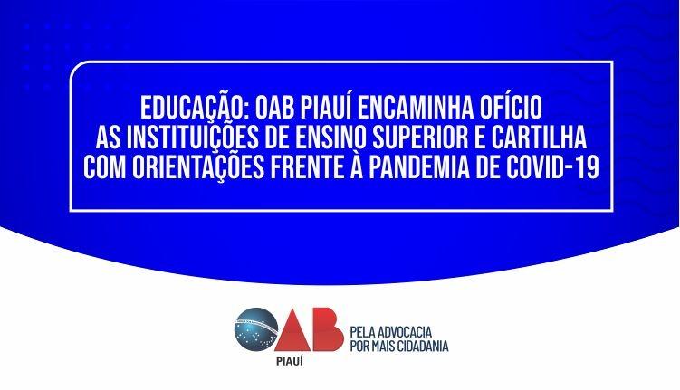OAB PI encaminha às instituições de ES cartilha com orientações