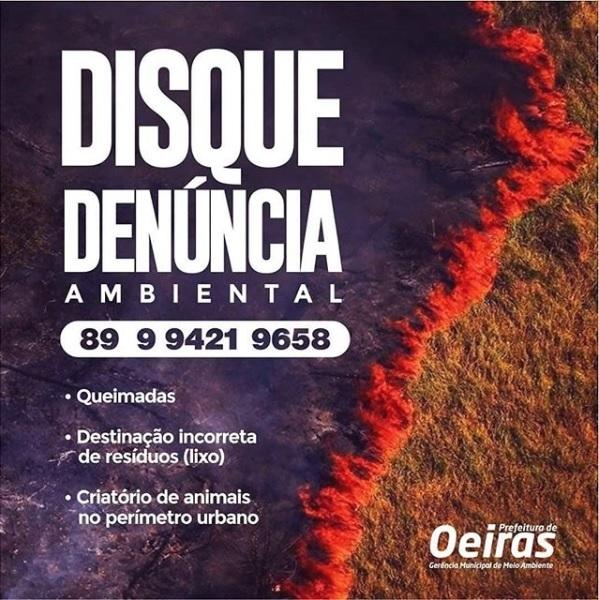 Prefeitura de Oeiras disponibiliza 'Disk denúncias' para crimes ambientais