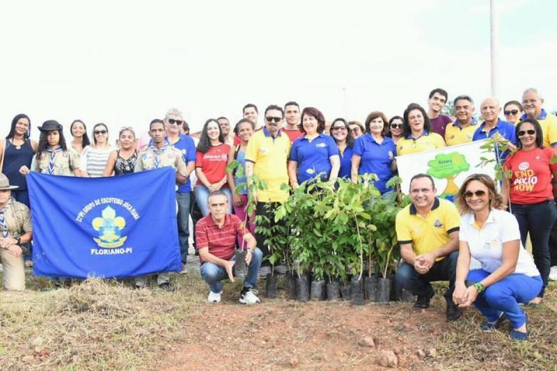 Rotary Club comemora 113 anos com plantio de mudas em parceria com secretarias de Floriano