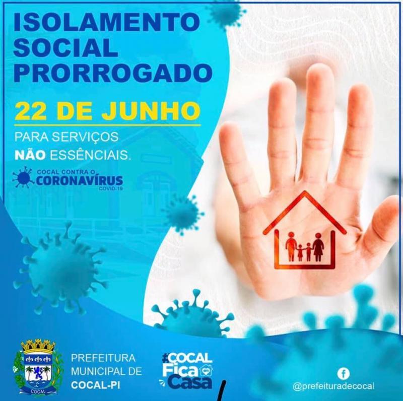 Prefeitura de Cocal prorroga o isolamento social até 22 de junho