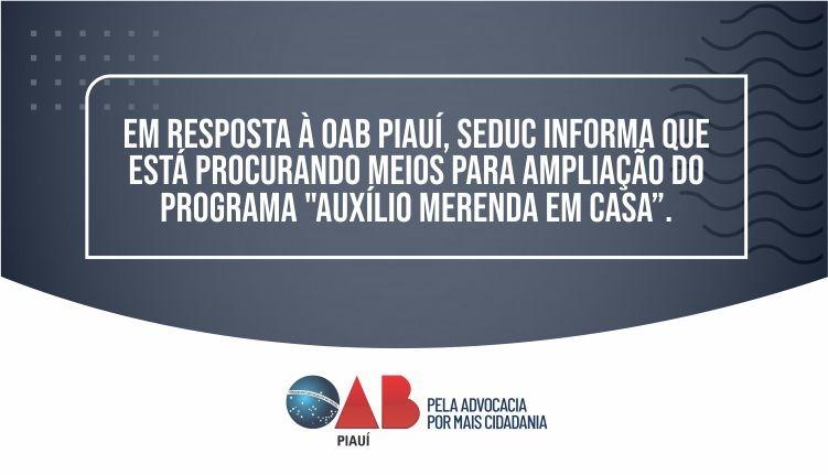 OAB Piauí solicita  a extensão do auxílio financeiro para   estudantes