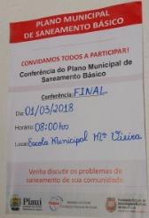 Prefeitura de Tanque do Piauí realiza 1ª conferência municipal de saneamento básico