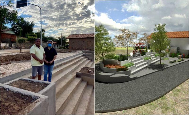 Prefeito de Miguel Leão visita obras de Praça Pública e Academia da Saúde
