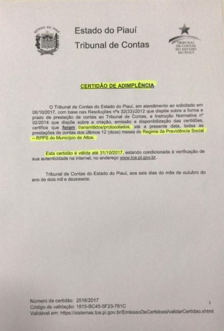 TCE emite certidão de adimplência da prestação de contas da prefeitura de Altos