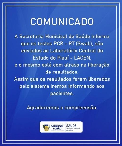 Saúde de Demerval Lobão informa sobre atrasos na liberação dos testes