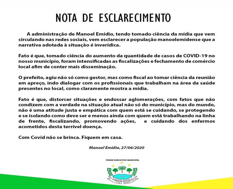 Prefeitura de Manoel Emídio emite nota de esclarecimento