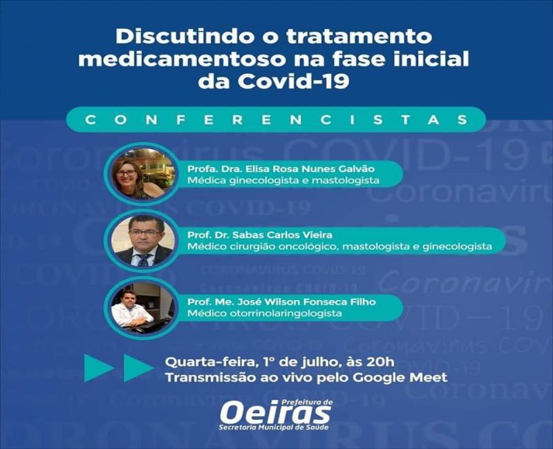 Saúde de Oeiras fará videoconferência sobre tratamento da Covid-19