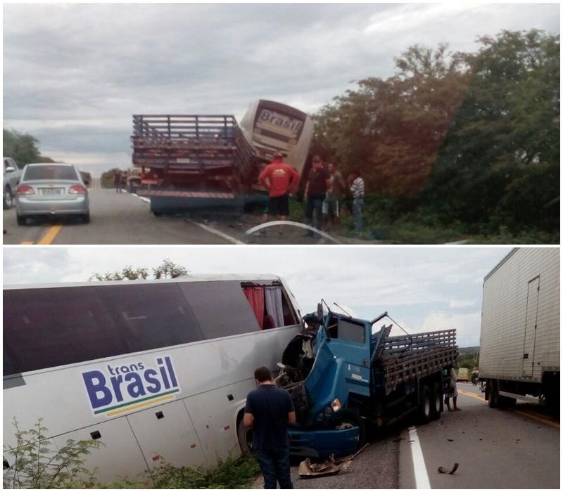 Acidente entre ônibus e caminhão deixa um morto no PI