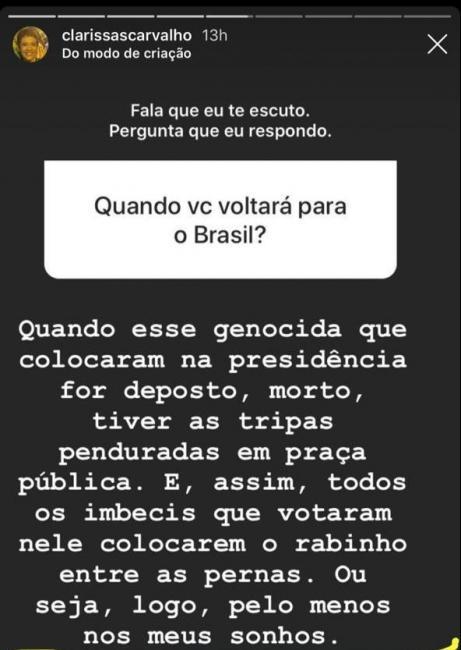 Irmã de deputado diz que só volta ao Brasil depois que Bolsonaro for morto