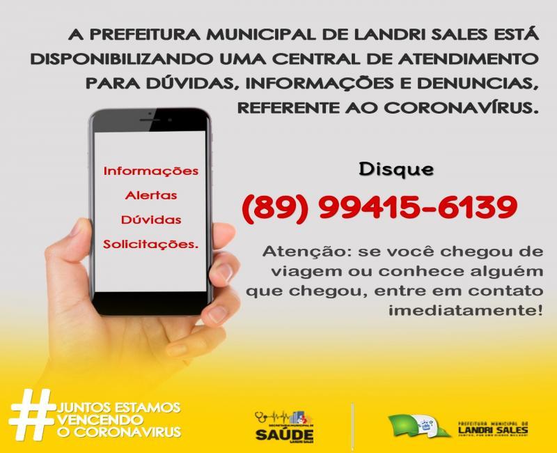 Prefeitura de L. Sales disponibiliza central de atendimento sobre Covid 19