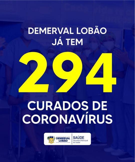 Demerval Lobão | Boletim epidemiológico aponta 294 curados da Covid-19