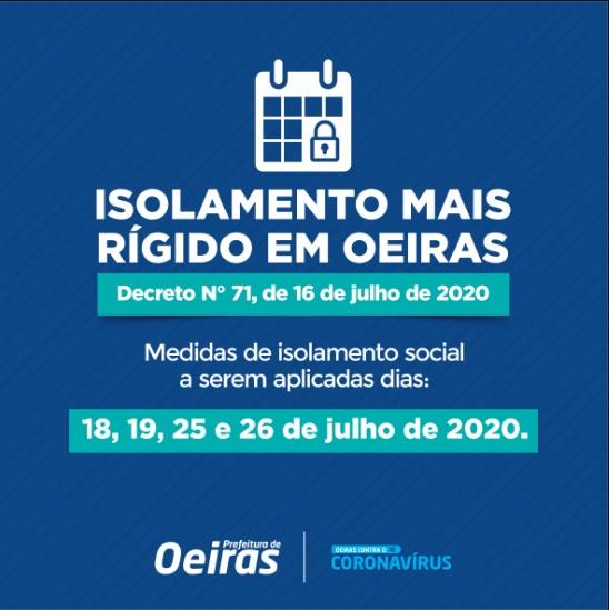 Prefeitura decreta isolamento mais rígido em Oeiras nos dias 18,19 de julho