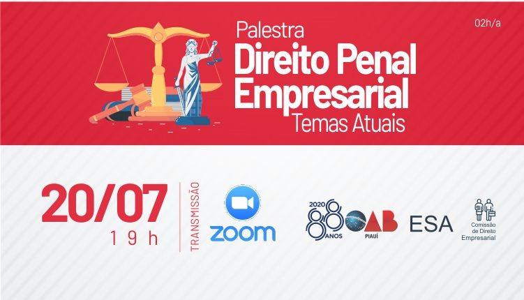 """Inscrições gratuitas para a palestra """"Direito Penal Empresarial"""