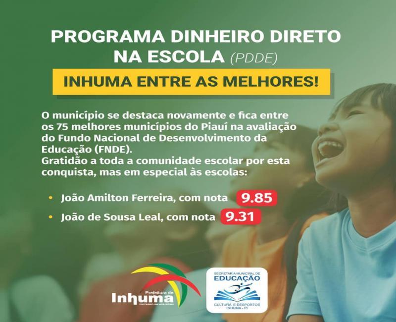 Inhuma fica entre as 75 cidades do Piauí com melhor avaliação do PDDE