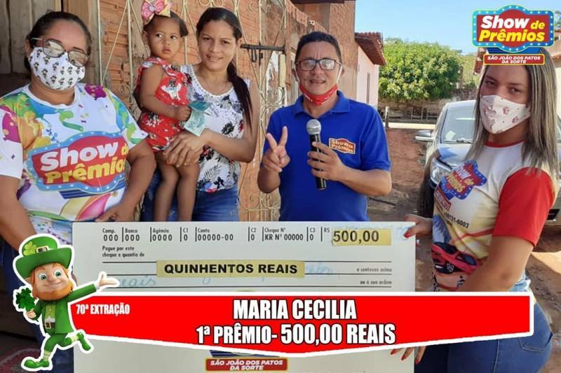 Ganhadores da 70° extração do show de prêmios São João dos Patos da sorte
