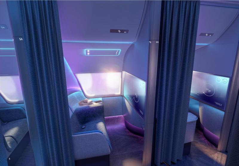"""Os que viajarem na categoria """"pure skies rooms"""" ficarão em espaços pessoais totalmente fechados, separados por cortinas - Foto: Divulgação / PriestmanGoode"""