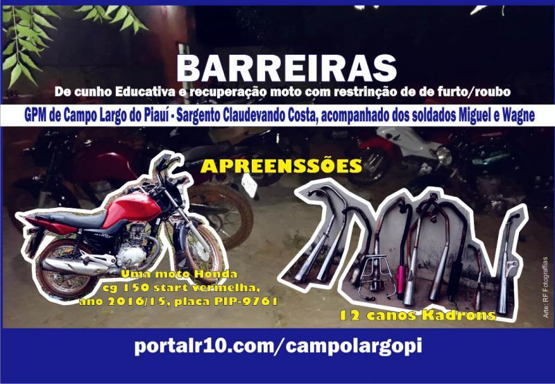 GPM Campo Largo recupera moto e 12 canos kadrons, após barreias educativa