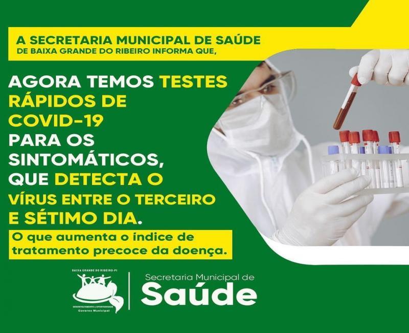 Saúde de Baixa Grande do Ribeiro adquire testes rápidos de Covid-19