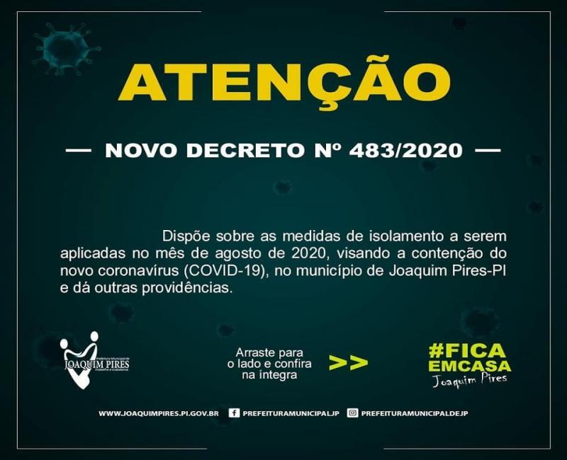 Prefeitura de Joaquim Pires lockdown parcial neste final de semana